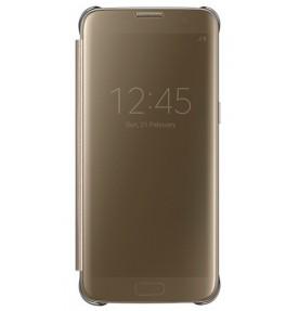 Husa Clear View Cover Samsung Galaxy S7 Edge, Gold